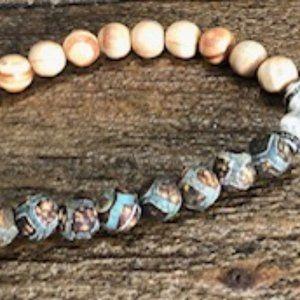 Two Tone Bead Bracelet w/ Namaste Charm